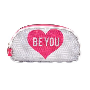 ESTUCHE BE YOU ROSA CON LUZ LED Y LENTEJUELAS